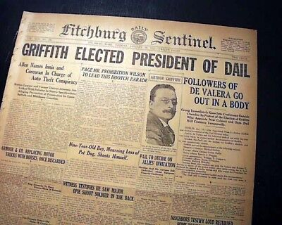 ARTHUR GRIFFITH Irish Free State Dail Eirean President ELECTION 1922 Newspaper