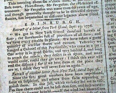 NATHAN HALE HANGING Hanged Revolutionary War American Soldier Spy 1776 Newspaper