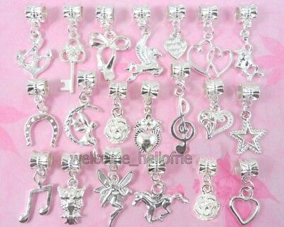 20pcs Silver Plated Mix Dangle Charms Fit European Bracelet SY02