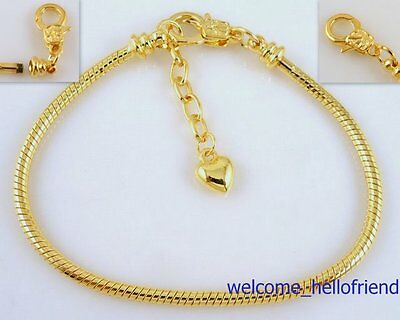 10ps Gold Plated Lobster Clasp Snake Chain Charm Bracelets Fit European Bead P15