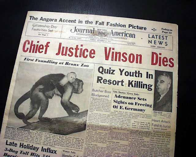 FRED M. VINSON Chief Justice of the United States Politician DEATH1953 Newspaper