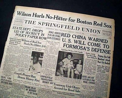 EARL WILSON Boston Red Sox throws 1st African American NO-HITTER 1962 Newspaper