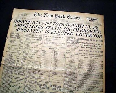 HERBERT HOOVER Elected 31st President of United States Rep. WINS 1928 Newspaper