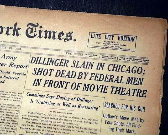JOHN DILLINGER ASSASSINATION Gangster Outlaw at Chicago Theater 1934 Newspaper