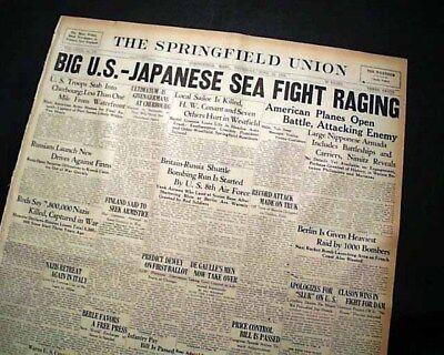 BATTLE OF THE PHILIPPINE SEA Mariana Islands Pacific World War II 1944 Newspaper