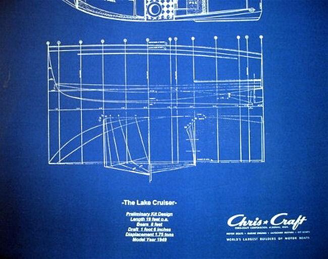 Vintage Chris Craft Yacht 1949 Blue Blueprint Plan 20 Quot X27