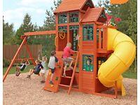 Jungle gym play house slide swing climbing wall