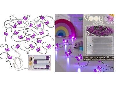 2 Packs ~ 20 LED Moon Lights  6.5 feet White Lights Purple Butterfly each set - Butterfly Lights