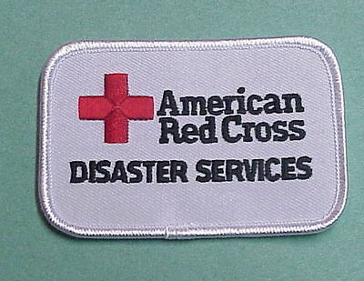 American Red Cross  Disaster Services   White    Red Cross Patch  Free Shipping