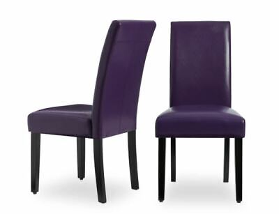 NEW Faux Leather Purple Kitchen Dining Chairs Set of 2 Bar Table Durable Cheap