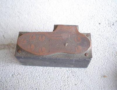 Vintage Wood Metal Printers Block Old Football Cleats