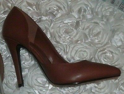 Brown 8 Medium Delicious Mitten Leatherette Pointy Toe Open Shank Stiletto - Brown Pointy Toe