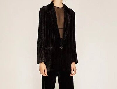 Zara 119$ Black Velvet Jacket Blazer Size Xs Perfect Condition