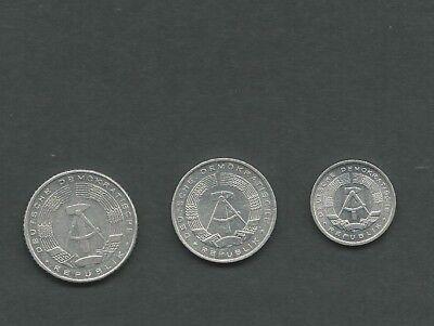 DDR Kursmünzen, 1 Pf - 10 Pf - 50 Pf, Staatswappen, Alu Scan (464)