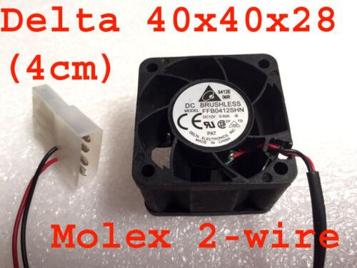 DELTA FFB0412SHN 40x40x28mm (4cm) (1U) DC 12V 0.6A Cooling Fan,13000rpm