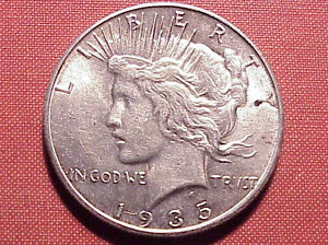1935-S Peace Silver $1 AU About Unc Scarcer Final Year Issue