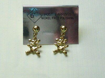 Süße Ohrhänger für junge Damen. Goldfarbig mit kleinem Teddy. Nickelfrei. ()