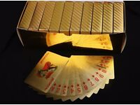 Gold Plated Poker playing cards , 10 in a box . Cards are flexible, tear free and water proof