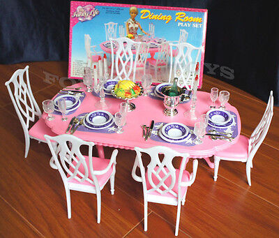GLORIA DOLLHOUSE FURNITURE 6 CHAIRS DINING ROOM W/ Spoons Silverwares PLAY SET