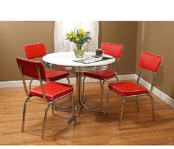 50s Dining Set 5 Piece Kitchen Vintage Diner Chrome Metal Table Red Chair  Retro