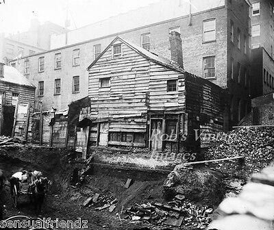 New York City Bleeker St 1890s tearing down old frame house Vintage photo print