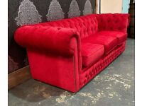 Stunning Chesterfield 3 Seater Sofa in Red Fabric - UK Delivery