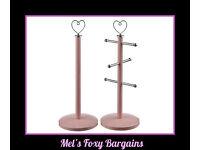 Pink Heart Mug Tree & Kitchen Roll Holder-New Stock