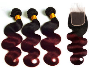 Ombre Burgundy Bundles and Lace Closure Body Wave Human Hair
