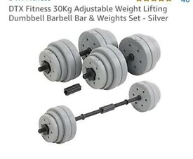 30kg weights and dumbell set