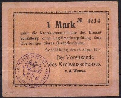 [14297] - NOTGELD SCHILDBERG (heute: Ostrzeszów), Kreis, 1 Mk, 18.08.1914. Dießn