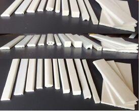 White PVC-U Plastic Window Glazing Finishing Skirting, Quadrant, D-section, Square, Edge Fillet Trim