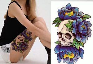Tatuaje-Temporal-Tatuaje-Falso-geisha-amp-scull-15x11cm-Medio-Tatuaje-Temporal-f-38