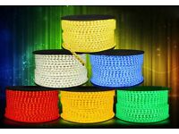 NEW & BOXED HEAVY DUTY LED COLOURED TAPE / ROPE LIGHTING - 100M ROLLS.