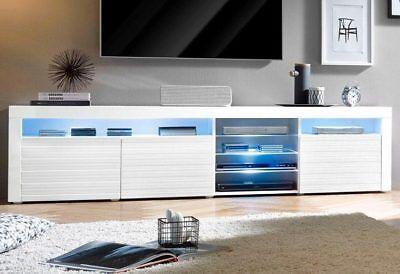"""White High Gloss Modern TV Stand Unit Media Entertainment """"Odessa V2"""" - 3D Doors"""