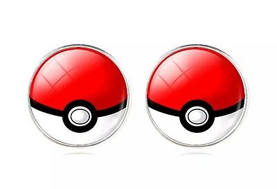 Pokemon Pair Of Poke Ball Cabochon Stud Earrings 12mm US Seller