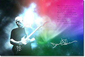 DAVID GILMOUR SIGNED PHOTO PRINT PINK FLOYD AUTOGRAPH POSTER GIFT