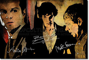 BENEDICT-CUMBERBATCH-MARTIN-FREEMAN-SIGNED-ART-PRINT-PHOTO-AUTOGRAPH-SHERLOCK