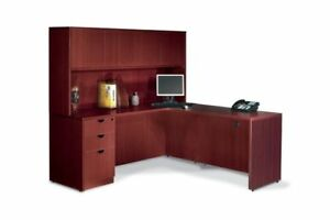 Red Laminate Corner L shaped desk with side hutch