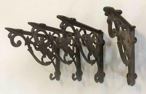 SET OF 4 CHERUB ANGEL BRACE SHELF BRACKETS antique brown patina finish cast iron