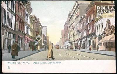 Wheeling Wv Market Street Dollar Savings Bank Trolley Car Vtg Postcard Old Pc