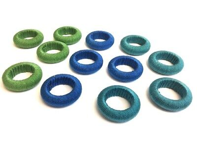 Set of 12 Deluxe Yarn Wrapped  Napkin Rings ~ Blue~ Green ~ (Napkin Wraps)