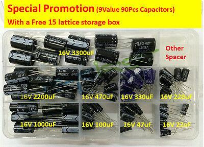 Hot 9 Value 90pcs 16v Electrolytic Capacitor Assorted Kit Box Assortment