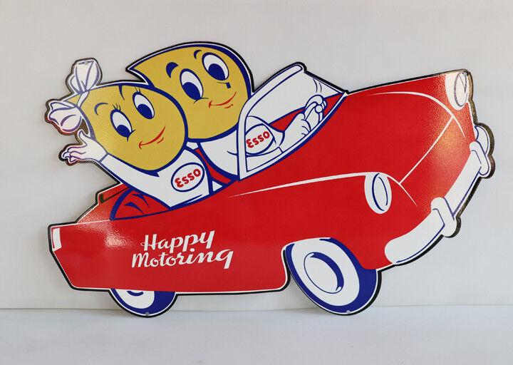 "24"" ESSO HAPPY MOTORING Gas Drop KIDS IN CAR Diecut Sign oil  modern retro"