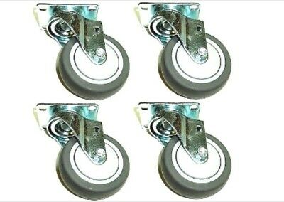 Set Of 4 Swivel Casters With Soft Rubber 5x1-14 Wheels And Thread Guards