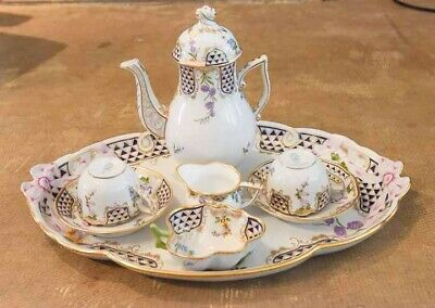 8 PIECE HEREND HAND PAINTED PORCELAIN TEA SET WITH TRAY