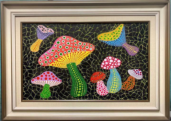 Yayoi Kusama Mushroom 1982 Acrylic Painting on Canvas with Signature FedEx F/S