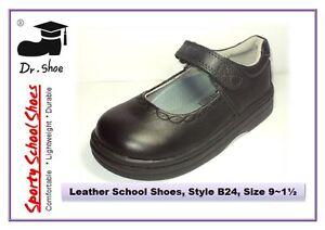 School Shoes Dr.Shoe Black Genuine Leather Girls Strip Student Junior Sz 9-1.5