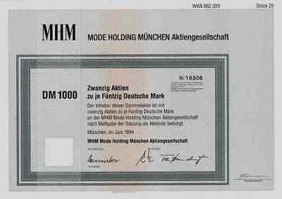 MHM Mode Holding 1994 München Neubiberg 1000 DM Hucke AG Lübbecke ARA Moden Kern