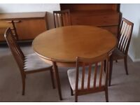 Solid Teak Extendable Round Dining Room Table with Four Chairs (extends to six seater) - G Plan