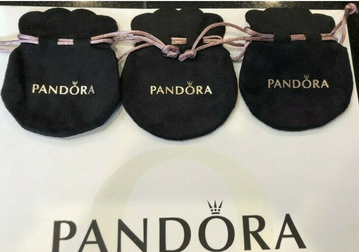 3 PANDORA Gift Bag Black Velvet Jewelry Pouch Charms Rings Earrings Anti Tarnish